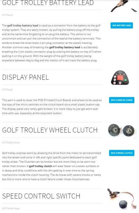 electric golf trolley spares page